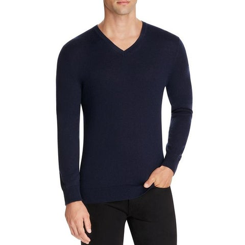 Burberry Randolf Navy Cashmere V-neck Sweater