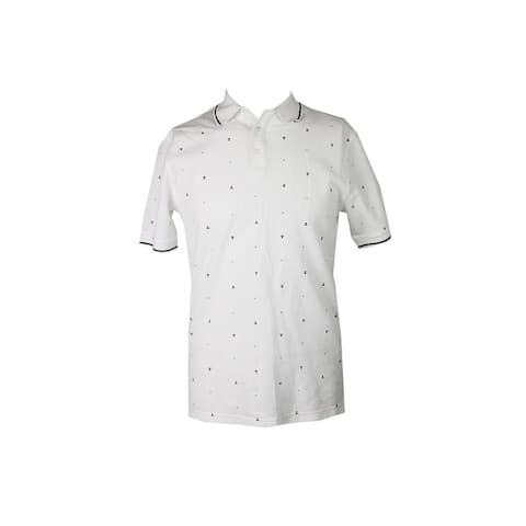 Club Room White Anchor Dot Classic Fit Polo Shirt L