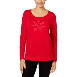 Hue Womens Pajama Top Modal Blend Embellished