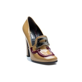 Prada Women's Patent Leather Loafer Style High Heels Tan Shoes - 9
