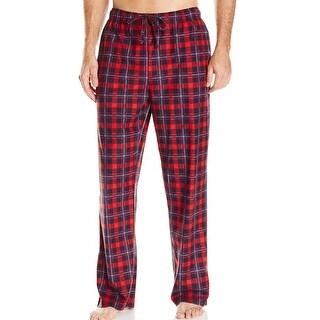 Nautica NEW Red Mens Size Large L Plaid-Print Fleece Lounge Pants
