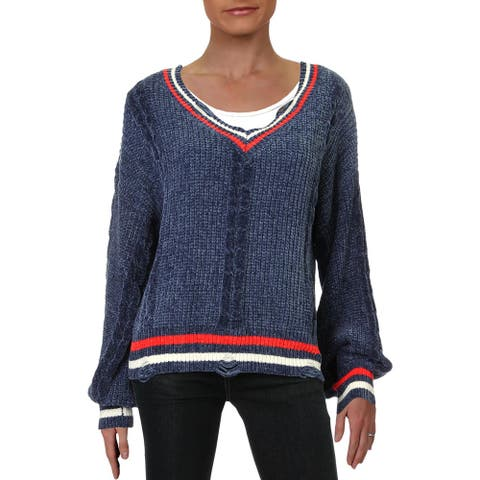 Cliche Womens Sweater V-Neck Contrast Trim - Navy Combo - L