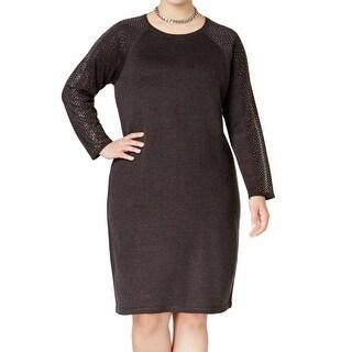 Calvin Klein NEW Gray Charcoal Women's 1X Plus Studded Sweater Dress
