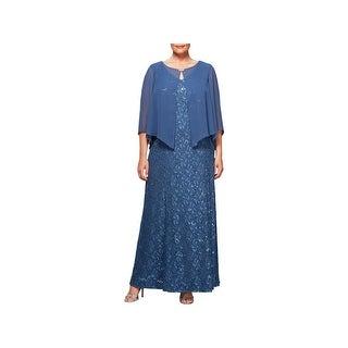 Alex Evenings Womens Plus Capelet Dress Lace Sequined