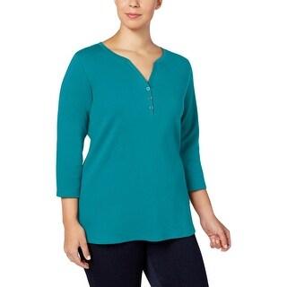 Karen Scott Womens Plus Pullover Top Three-Quarter Sleeves Solid