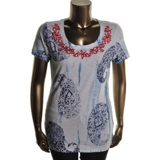 Lucky Brand Womens Juniors Embroidered Printed T-Shirt - M
