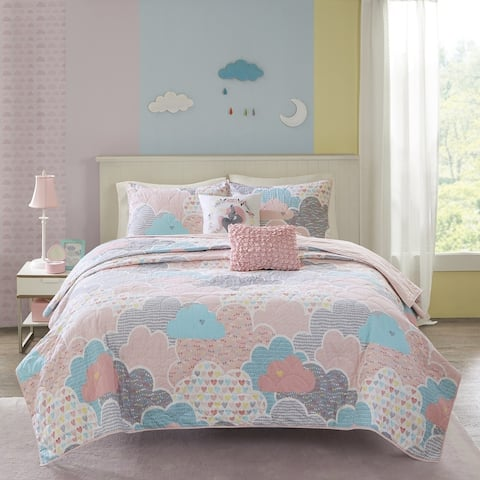 Urban Habitat Kids Bliss Pink Cotton Printed 5-piece Coverlet Set