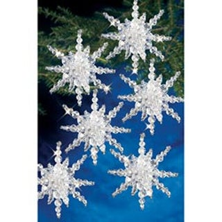 """Snow Clusters 3.5"""" Makes 12 - Holiday Beaded Ornament Kit"""