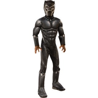 Boys Muscle Chest Deluxe Black Panther Movie Costume
