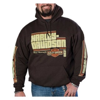 Harley-Davidson Men's Groovy Retro Pullover Fleece Hoodie - Dark Brown