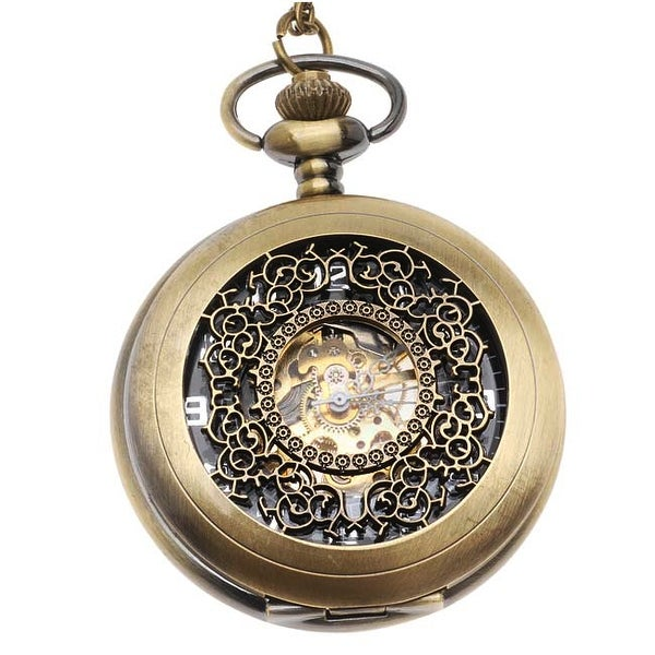 Steampunk Pocket Watch Pendant - Antiqued Brass Mechanical With Filigree Lid