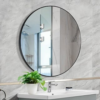 Link to Mirror Trend Round Flat Metal Framed Wall Mirror Dia 30'' - 30*30*0.79 Similar Items in Mirrors