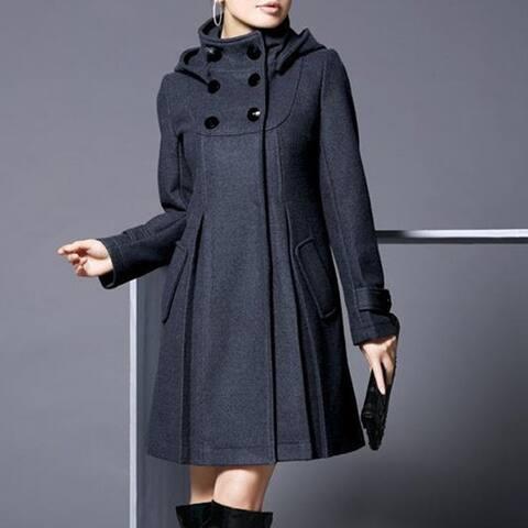 Women Winter Hooded Solid Double-Breasted Pockets Long Cloak Windbreaker Coat
