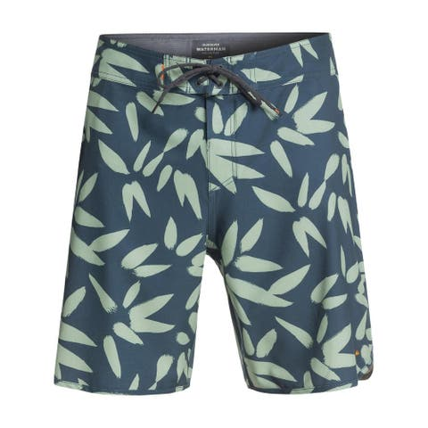 Quiksilver Mens Floral Print Stretch Board Shorts - Bright Green - 32