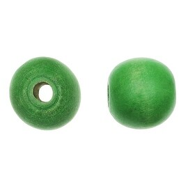 Smooth Large Hole Painted Maple Wood Beads, Round 16mm, 16 Inch Strand, Grass Green