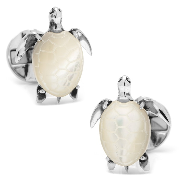 Sterling Mother of Pearl Turtle Cufflinks