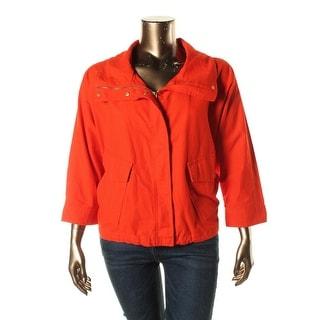 MICHAEL Michael Kors Womens Plus Zip-Front Funnel Neck Jacket - 3X