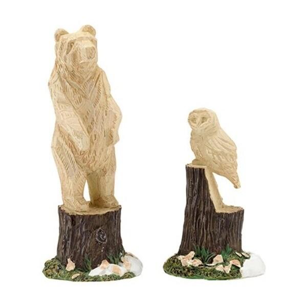 "Department 56 Snow Village ""Woodland Carvings"" 2-Piece Accessory Set #4033841"