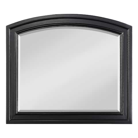 Wooden Mirror with Raised Edges and Curved Top, Black
