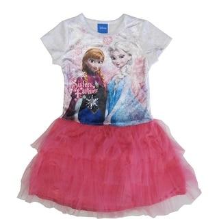 Disney Little Girls White Pink Anna Elsa Print Tutu Ruffle Dress 5-6X
