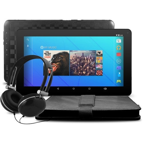 """Ematic Egq223skbl 10"""" Quad-Core Tablet With Android 5.1, Lollipop, Keyboard Folio Case And Headphones"""