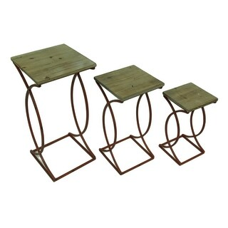 Set of 3 Rustic Curved Leg Wood Top Nesting Tables - Red
