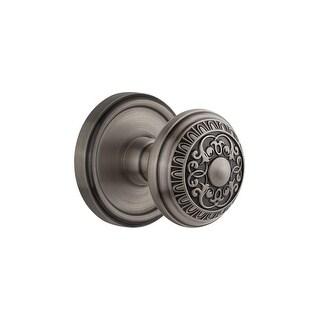 "Grandeur GEOWIN_PRV_234  Georgetown Solid Brass Rose Privacy Knob Set with Windsor Knob and 2-3/4"" Backset"