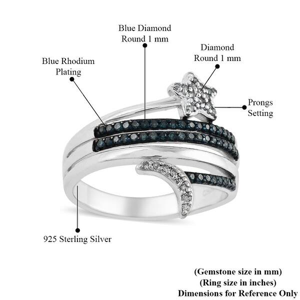 IR 0.10 ctw Blue Diamond Size 6 Ring in Blue Rhodium Sterling Silver handmade Jewelry Diamond Jewelry Gift For Her Gift For Wife