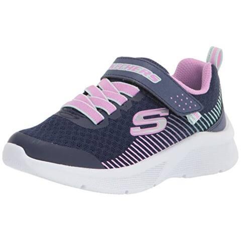 Skechers Kids Sport, Light Weight, Skechers Girls Machine Washable Sneaker, Navy/Lavendar, 1.5 Little Kid