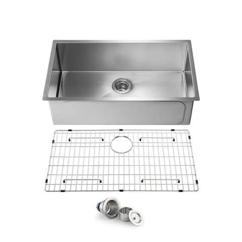 Handcrafted Undermount Single Bowl Real 16 gauge Stainless Steel Kitchen Sink with Strainer and Grid