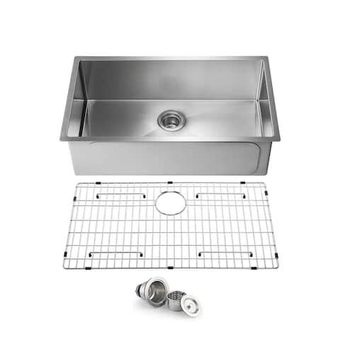 Handcrafted Undermount Single Bowl Stainless Steel Kitchen Sink