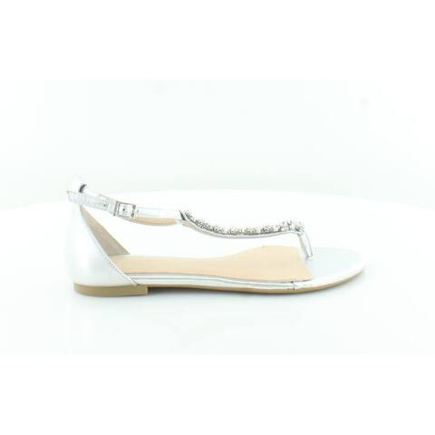 BADGLEY MISCHKA Womens Gabby Leather Split Toe Formal T-Strap Sandals