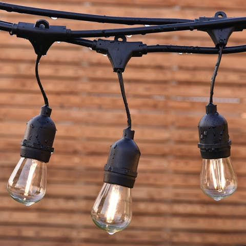 Costway 48FT LED Outdoor Waterproof Commercial Grade Patio Globe String Lights Bulbs - as pic