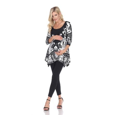 Maternity Ganette Tunic Top - Black/White
