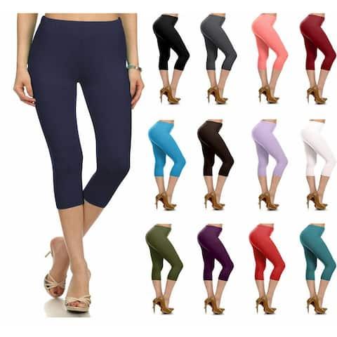 NioBe Clothing Womens High Waist Solid Microfiber Ultra Soft Capri Leggings (One Size)