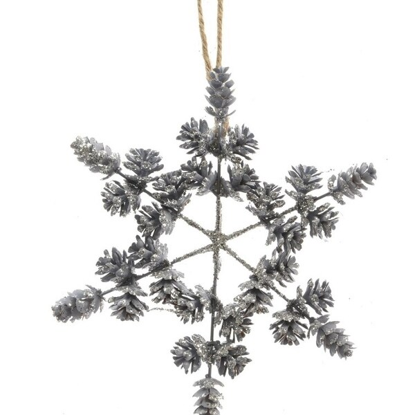 8 winter light light blue threaded pine cone snowflake christmas ornament decoration