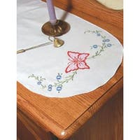"""Daisy Butterfly - Stamped Perle Edge Dresser Scarf 15""""X42"""""""