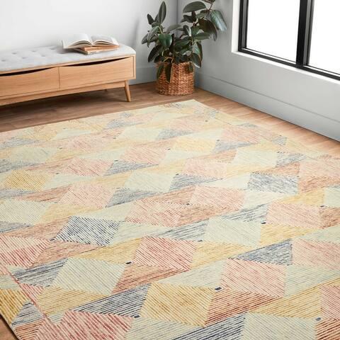 Alexander Home Kaleidoscope Geometric Hand-Hooked Wool Rug