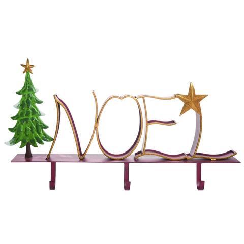 """24"""" Green and Gold Glitter Noel Christmas Stocking Holder"""