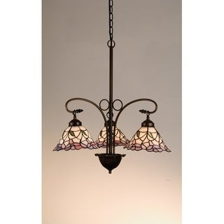 Meyda Tiffany 27419 Stained Glass / Tiffany 3 Light Down Lighting Chandelier from the Daffodil Bell Collection