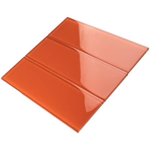 """TileGen. 4"""" x 12"""" Glass Subway Tile in Fire Orange Wall Tile (30 tiles/10sqft.)"""