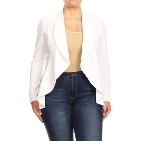 Women's Solid Plus Size Long Sleeve Blazer Jacket
