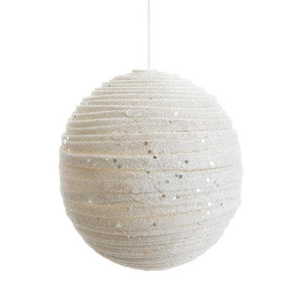 "5"" Winter Light Ivory White Glittered Swirling Ribbon Christmas Ball Ornament"