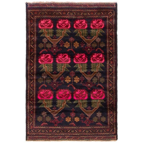 ECARPETGALLERY Hand-knotted Baluch Black, Pink Wool Rug - 2'10 x 4'10