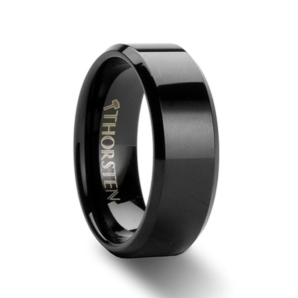 THORSTEN - INFINITY Black Tungsten Wedding Ring with Beveled Edges - 7mm
