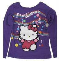 Hello Kitty Little Girls Purple Applique Musical Notes Print Shirt 4-6X