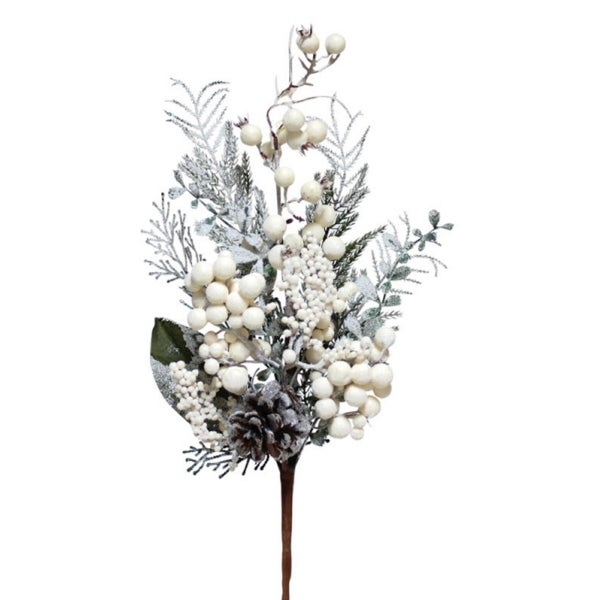 """Club Pack of 12 White and Green Frosted Winterberry Christmas Spray with Pine Cones 20"""""""