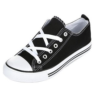Womens Casual Canvas Shoe Solid Color Low Top Lace Up Fashion Sneaker
