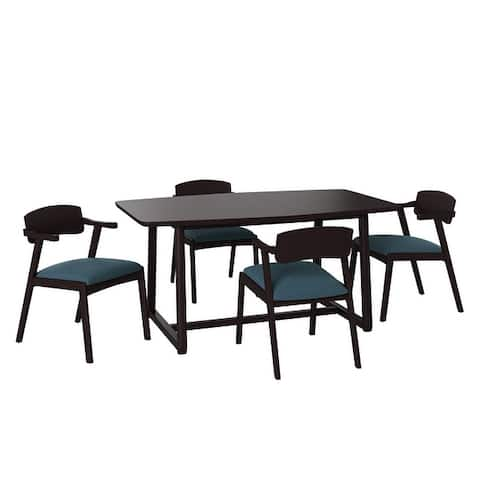 Carson Carrington Comiskey 5-piece Mid Century Modern Espresso Wood Dining Table and Arm Chairs