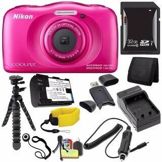 Nikon COOLPIX S33 Digital Camera (Pink) (International Model No Warranty) + EN-EL19 Battery + 32GB SDHC Card Bundle